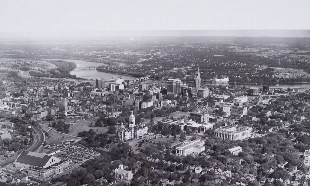 View of Downtown Hartford from the west before freeway construction (1955).