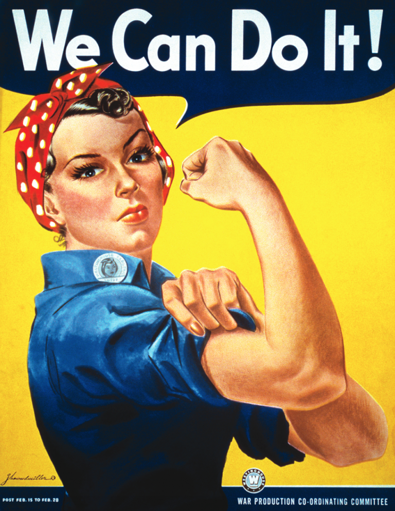 Rosie the Riveter- Artist J. Howard Miller produced this work-incentive poster for the Westinghouse Electric & Manufacturing Company.