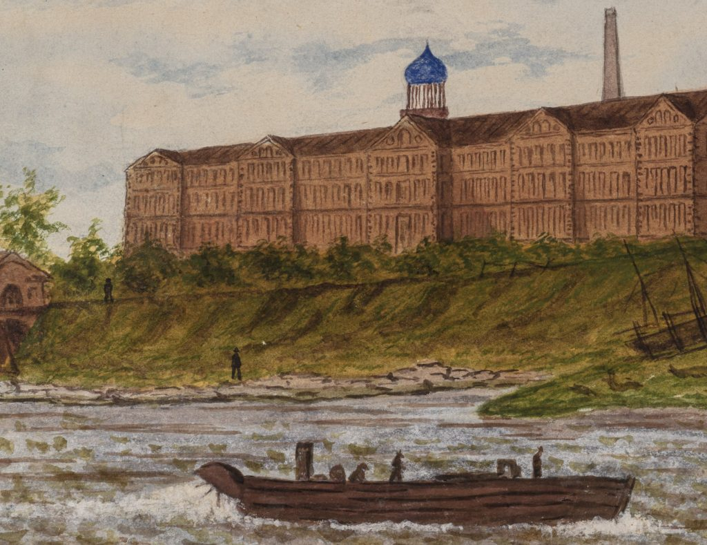 View from the Connecticut River of the Colt factory complex. A boat appears to be moving upstream in the foreground. Painted by Joseph Ropes. Ropes was a landscape painter and miniaturest who also worked in crayon. He had a studio in Hartford 1861-1865. Wadsworth 2013.