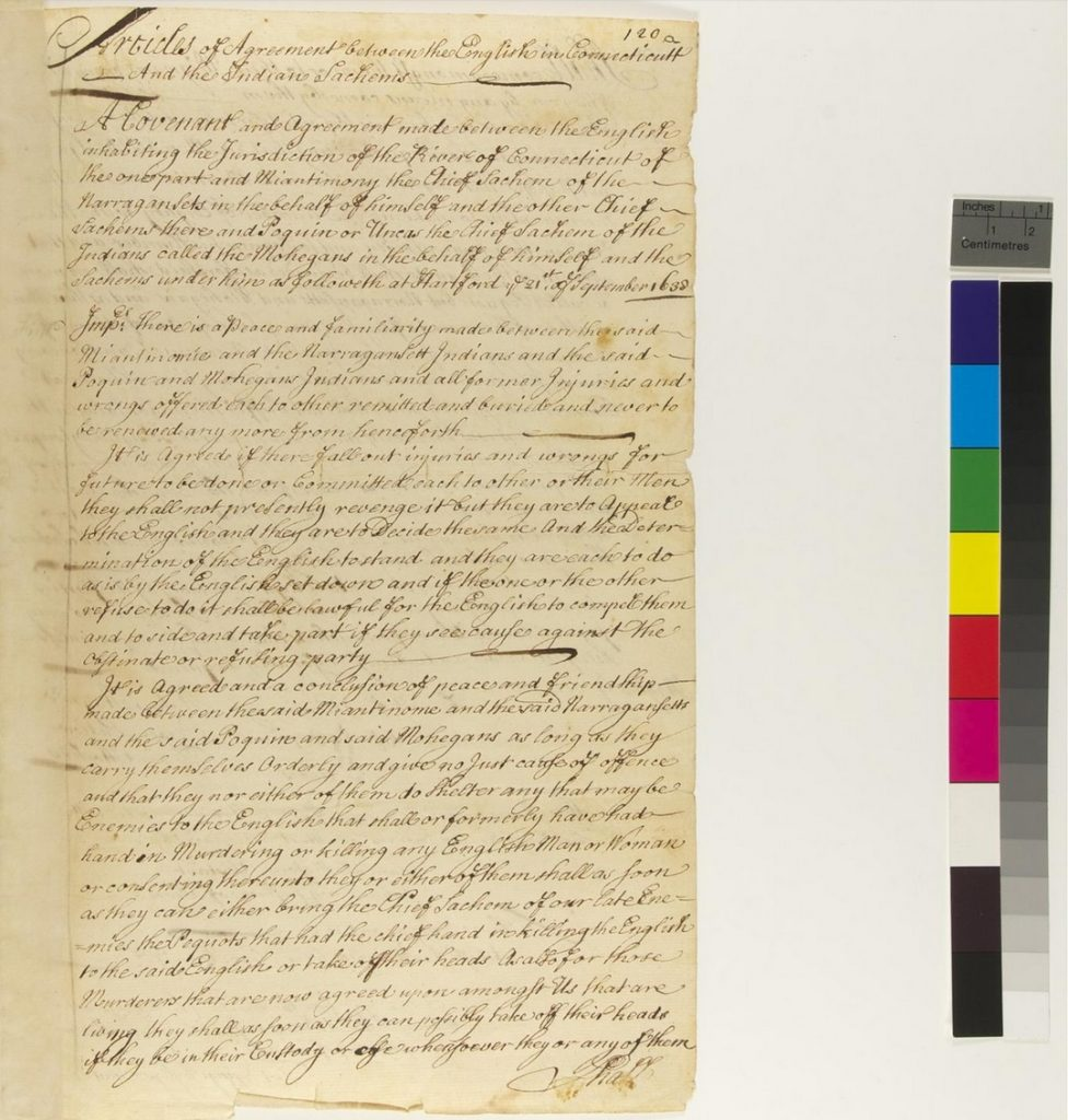 Page One of the Treaty of Hartford
