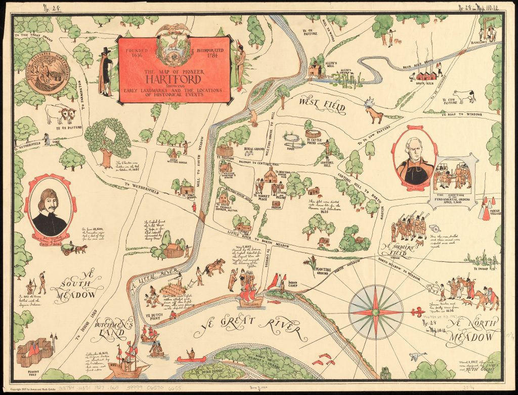 The map of pioneer Hartford : founded 1636, incorporated 1784, showing early landmarks and the locations of historical event